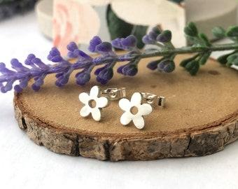 Mini Flowers Earrings, Sterling Silver Flowers Earrings, Floral Stud Earrings, Botanical Jewellery, Handmade Jewelry, Women Stocking Filler