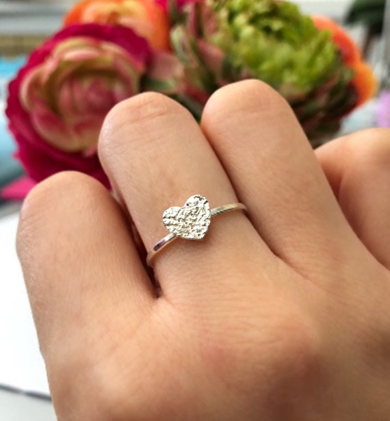 Silver Heart Dainty Ring Stacking Ring.