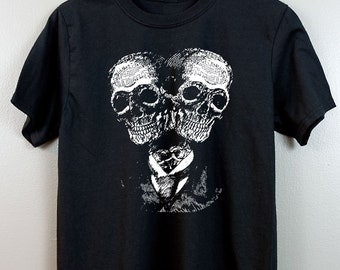Occult Short-Sleeve T Shirt   Gothic Esoteric clothing Witchy Wicca Nu Pastel goth Tumblr aesthetic Dark art Horror   Siamese Skulls