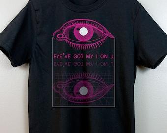 Vaporwave Short-Sleeve T Shirt   Cyberpunk Aesthetic clothing Soft grunge 90s Retrowave Futuristic Pastel goth Tumblr   Eye've got my I on U