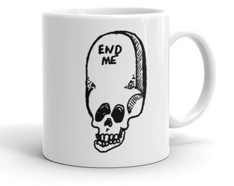 Gothic coffee mug   Skull Grim Reaper Death Nu goth Caffeine Mugs with pictures Spooky Creepy Hot Topic Gifts for Goths   End Me Mug