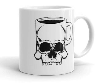 Gothic coffee mug   Skull Grim Reaper Death Nu goth Caffeine Mugs with pictures Spooky Creepy Hot Topic Gifts for Goths   Skullmug Mug