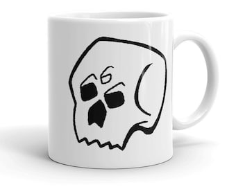 Gothic coffee mug   Skull Grim Reaper Death Nu goth Caffeine Mugs with pictures Spooky Creepy Hot Topic Gifts for Goths   666 skull