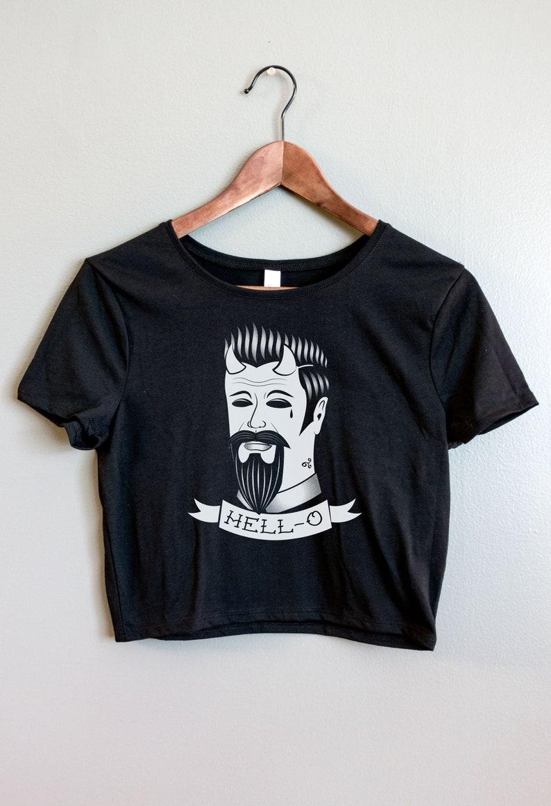 5424dad84a9 Tattoo flash Womens Crop Top Shirt Nu goth Tumblr aesthetic | Etsy