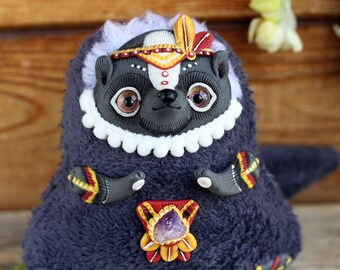 Skunk Art Ooak doll fantasy animal plush toy cute skunk boho style animal miniature doll