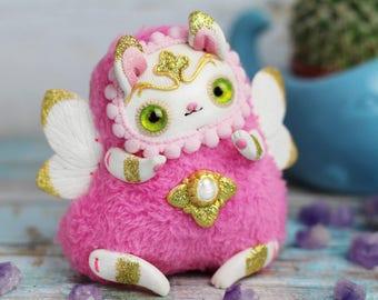 little bunny toy kawaii pink bunny figurine ooak animal doll bunny pink rabbit ooak
