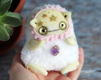 Collectible cat doll ooak toy glow ghost art creepy doll fantasy toy cat figurine plush cat
