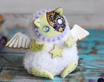 cat ooak doll kitty toy moon glowing cute cat figurine cat collectible kitty white cat