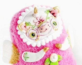 unicorn art doll fantasy animal ooak toy pink unicorn ooak soft plush unicorn cute toy