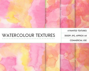 Yellow and pink watercolor backgrounds hand painted