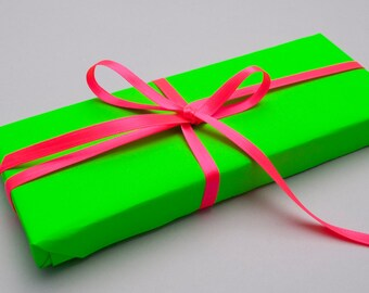 Neon Green Wrapping Paper 10m roll — Neon Green Gift Wrap — 1/3 off regular price — **Plus an EXTRA 20% OFF sale**