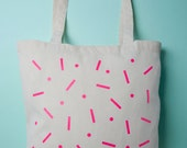 Neon pink geometric pattern screenprinted tote bag — 100% Cotton