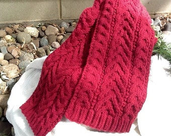 SALE!! Deep rose cable knit scarf, merlot cable scarf, distinctive cable pattern, classic cable scarf, wool and acrylic blend for warmth