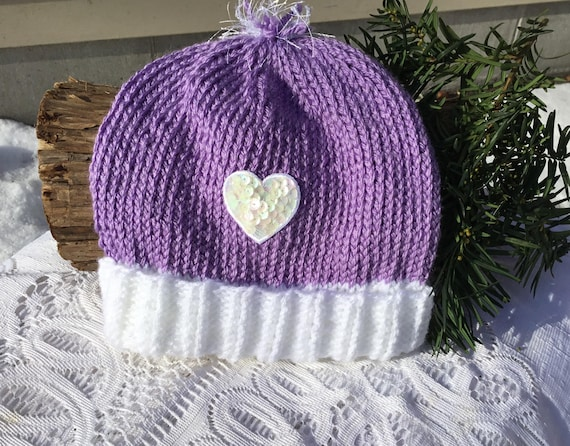 Lavender knit toddler hat warm winter stocking hat. Lilac and  d3779fe619c