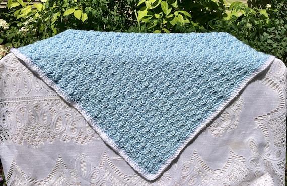 Kleine Blaue Muschelmuster Häkeln Baby Decke Weißer Rand Etsy