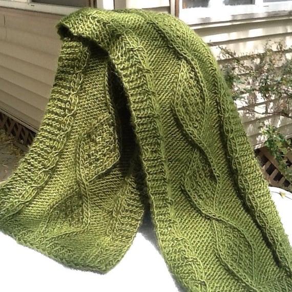 Verde oliva cable knit bufanda verde oliva con cables | Etsy
