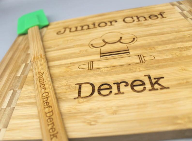 kid cooking gift set child baking gift kid baking set Kid/'s cutting board spatula set personalized engraved cutting board /& spatula