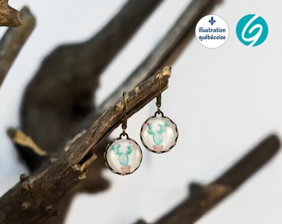 Antique brass dangling earrings - cactus earrings - round earrings - funny earrings - Original Quebec illustration - handmade Creations GEBO