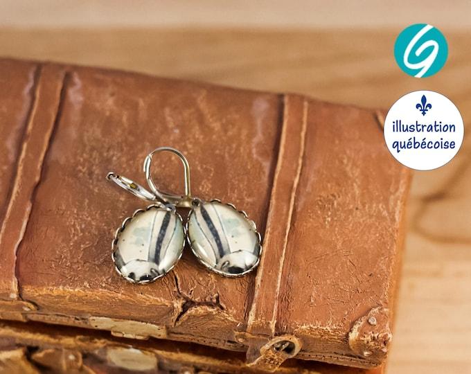 Boucles d'oreilles pendantes avec un petit lapin bleu. Une Illustration Québécoise originale - fait au Québec à la main par Créations GEBO
