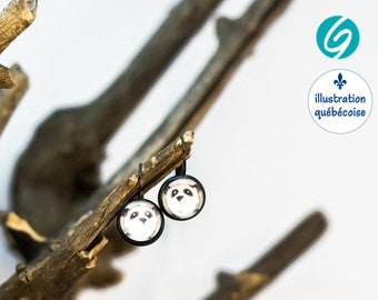 Pendant earrings - Panda - cabochon 12mm- original drawing from Quebec - Quebec handmade by Créations GEBO
