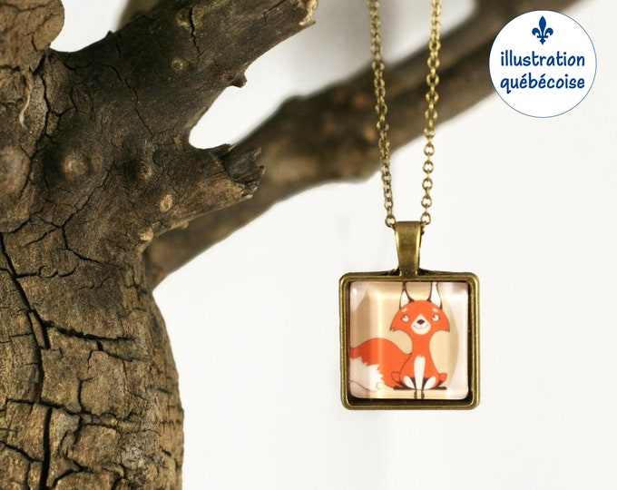 Blue short chain necklace comic - funny bunny, square 20mm cabochon - original drawing Bagu-Illustration - Quebec handmade by Créations GEBO