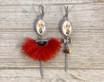 Asymetric feather long earrings multicolor humming-bird