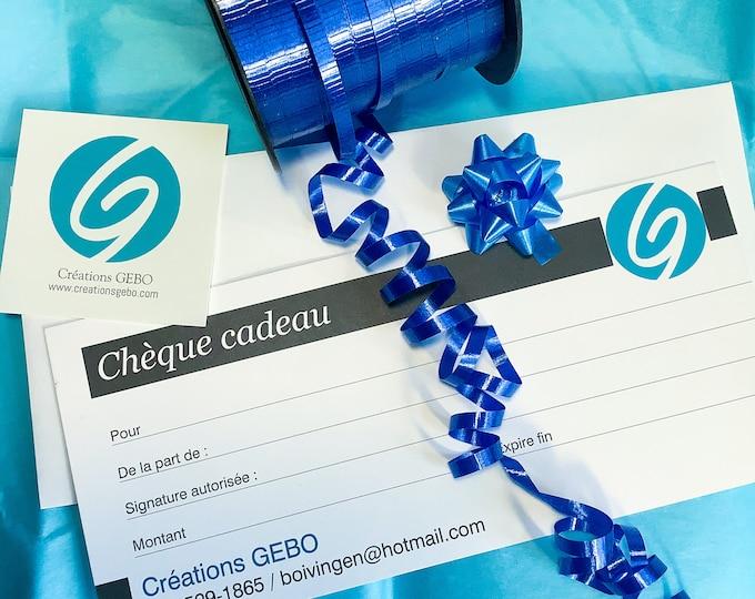 Chèque cadeau de Créations GEBO
