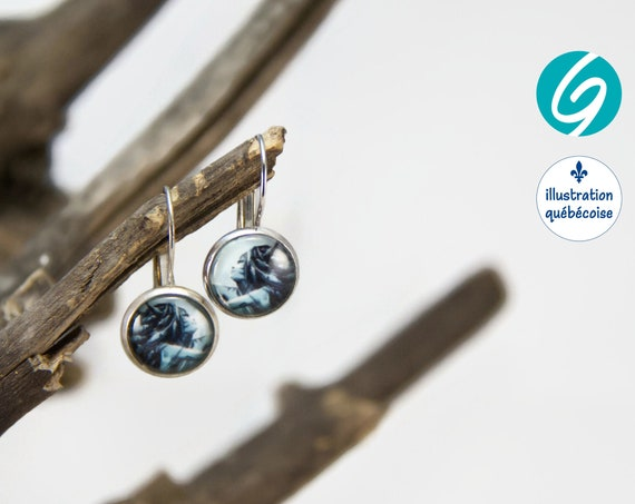 Pendant earrings blue mermaid round cabochon original drawing bagu-illustration - Made in Quebec - handmade Créations GEBO