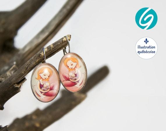 Pendant earrings birth pink woman feeding her baby