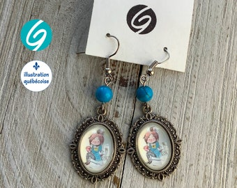 Pendant earrings blue woman oval cabochon original drawing Valmo-illustration - Made in Quebec - handmade Créations GEBO
