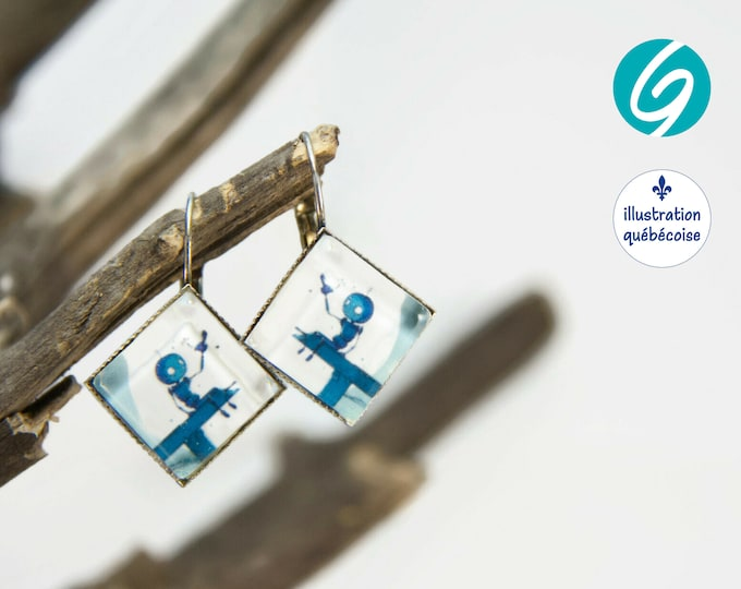 Pendant earrings blue robot square cabochon original drawing bagu-illustration - Made in Quebec - handmade Créations GEBO