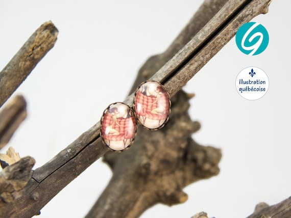 Stud earrings pink Woman and cat cabochon Made in Quebec