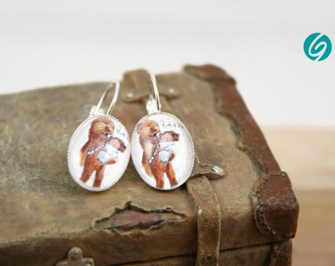 Star Wars dandeling earrings comic - geek  - cabochon - original drawing ValMo-Illustrations - Made in Quebec by Créations GEBO