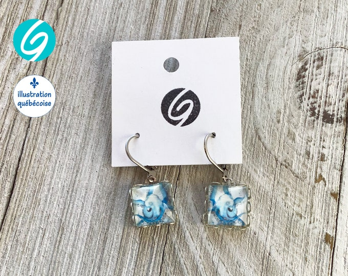 Square pendant earrings octopus cabochon glass