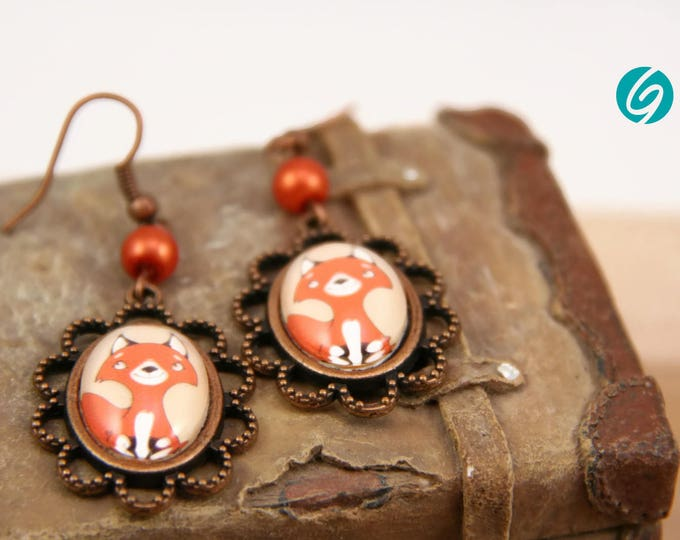 orange pendant earrings - cute red fox - cabochon 18 x 25 mm - original drawing Karine Jetté - Made in Quebec - handmade by Créations GEBO