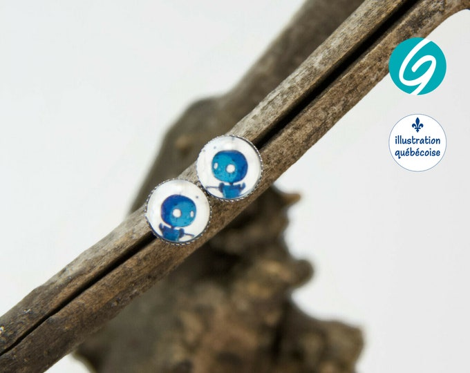 Stud earrings blue robot round cabochon original drawing bagu-illustration - Made in Quebec - handmade Créations GEBO