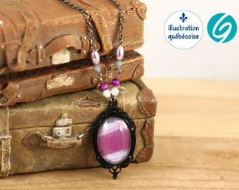 Short violet and black necklace, cabochon glass, original abstract painting from Marie-Claude Viau, Quebec handmade by Créations GEBO