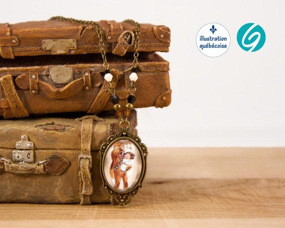 Collier laiton antique au look vintage - un dessin original de ValMo-Illustrations - fait au Québec par Créations GEBO