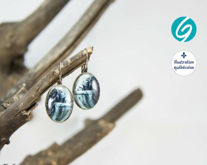 Pendant earrings blue mermaid oval cabochon original drawing bagu-illustration - Made in Quebec - handmade Créations GEBO