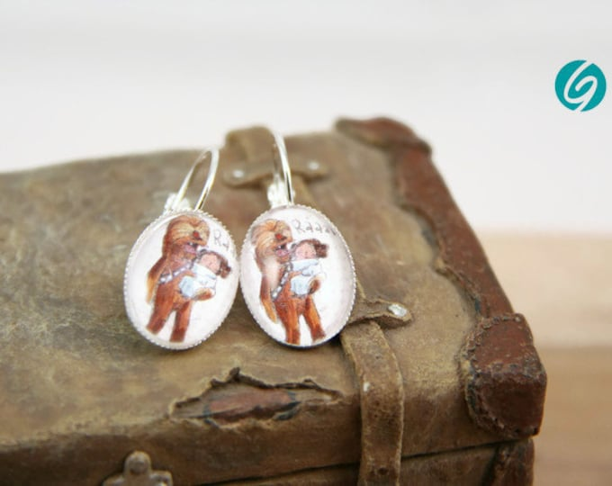 Star Wars dandeling earrings comic - chewbacca et Lea  - cabochon - original drawing ValMo-Illustrations - Made in Quebec by Créations GEBO