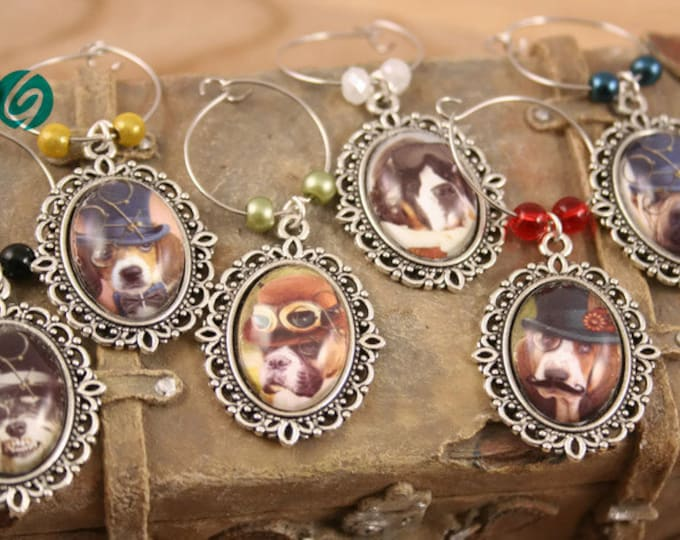 Wine Glass Markers, Steampunk funny dogs, set of 6 - glass cabochon pictures - made in Quebec - handmade by Créations GEBO -