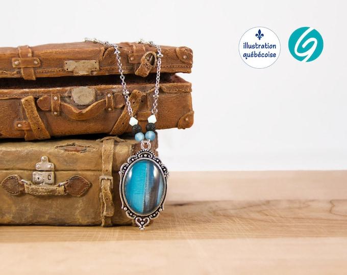 Collier 16 pouces au look vintage - Illustration originale québécoise - bijoux mode fait main par Créations GEBO
