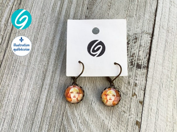 Pendant earrings cabaret orange and brown Woman Broadway cabochon original drawing Djief Made in Quebec handmade Créations GEBO