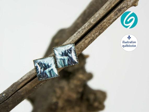 Stud earrings blue mermaid square cabochon original drawing bagu-illustration - Made in Quebec - handmade Créations GEBO