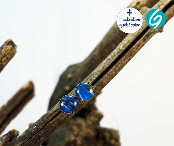 Boucles d'oreilles stud en acier inoxydable - une illustration originale québécoise et fait à la main par créations GEBO