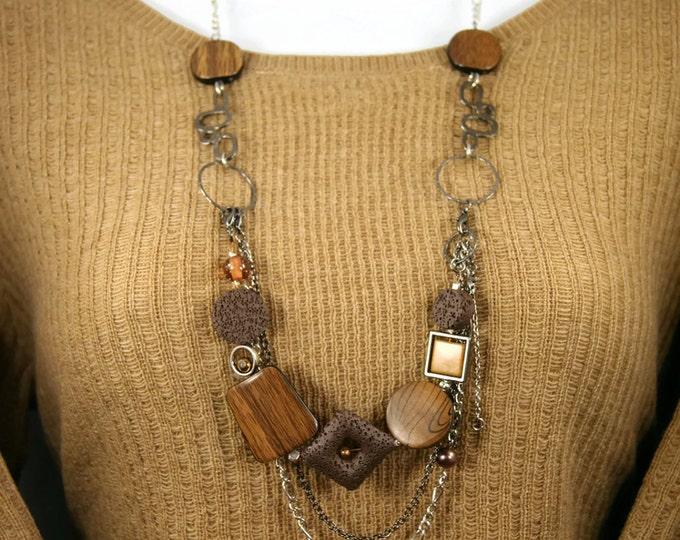 collier long modifiable - collier et bracelet brun - collier transformable - chic - classique - pratique - versatile - fait à la main - GEBO