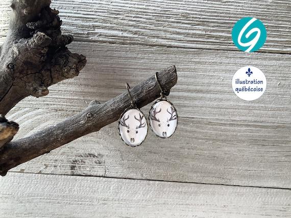 Oval earrings - cabochon glass - Original Quebec illustration - handmade Creations GEBO