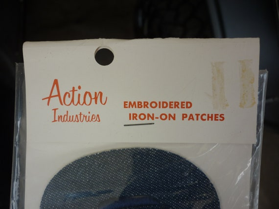 Vintage 1970's Action Ind. Denim Iron-On PATCH MO… - image 2