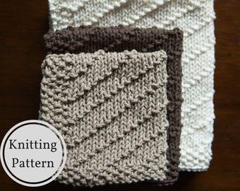 Washcloth Dishcloth Pattern | Easy Knit Washcloth Pattern | Easy Dishcloth Knitting Pattern | Beginner Knitting Pattern | Home Knitting Pat