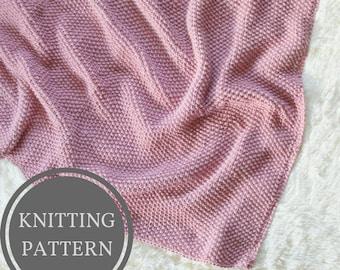 Seed Stitch Baby Blanket Knitting Pattern | Textured Baby Blanket Knit Pattern | Easy Knitting Pattern | Beginner Blanket Knitting Pattern